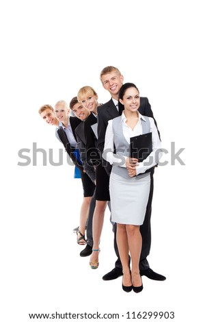 Business people group team standing in row line, young businesspeople together happy smile, hold folder clipboard, full length portrait Isolated over white background - stock photo