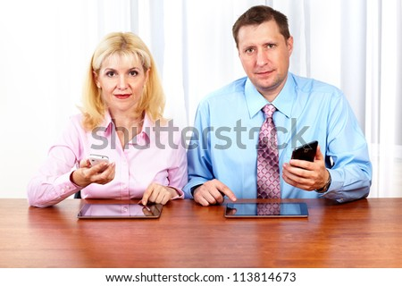 Business people group  working in the office. Technology. - stock photo
