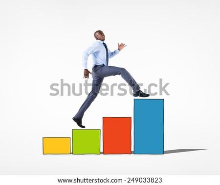 Business People Growth Achievement Success Goals Concept - stock photo