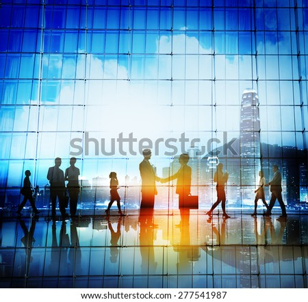 Business People Handshake Agreement Cityscape Concept - stock photo