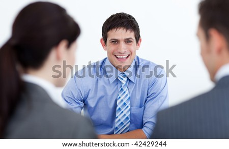 Business people having a job interview in the office - stock photo