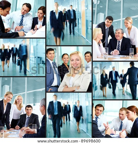 Business people hurrying for work and communicating - stock photo