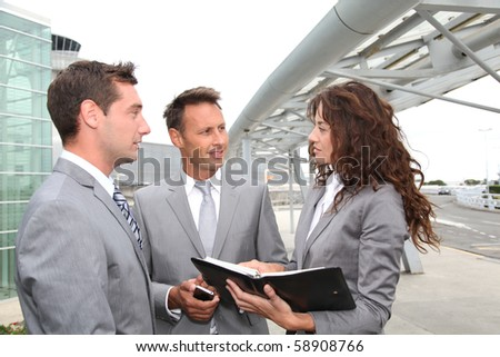 Business people in a business meeting away from the office - stock photo