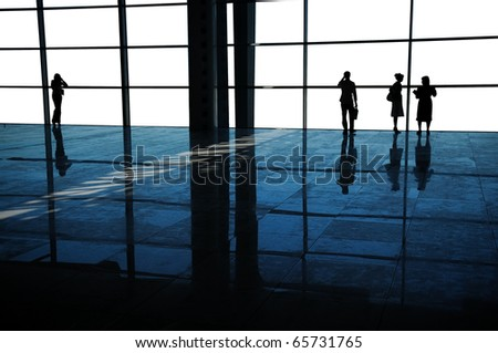 business people in business center - stock photo