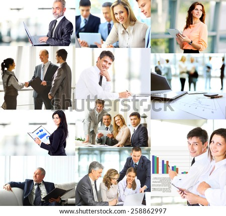 Business people in various situations connected with trainings, presentations, negotiations and teamwork - stock photo