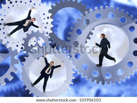 Business people inside the treadmill - teamwork concept with businessman inside cogwheels - stock photo