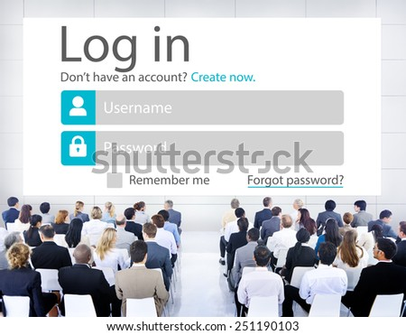 Business People LogIn Security Protection Seminar Concept - stock photo