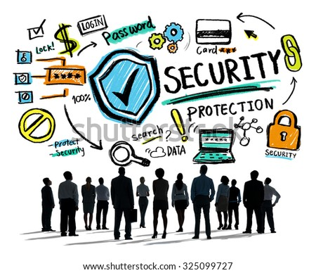 Business People Looking up Security Protection Firewall Concept - stock photo