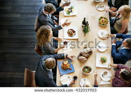 Business People Lunch Celebration Together Corporate Concept - stock photo
