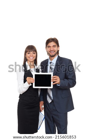 business people man and woman happy smile hold tablet pad computer show empty touch screen with copy space, young businessman businesswoman isolated over white background - stock photo