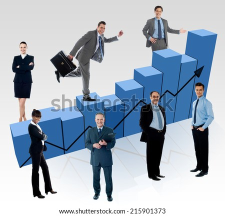 Business people, market fluctuation analyzed - stock photo