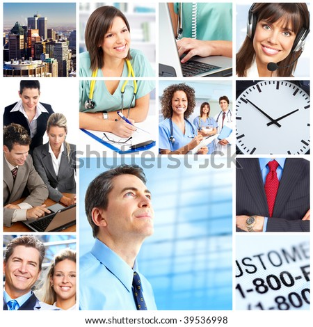 Business people, medical doctors, nurse, workers - stock photo