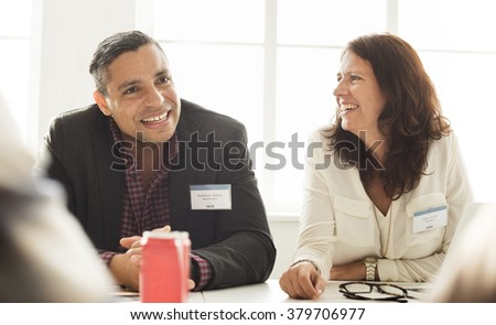 Business People Meeting Cheerful Smiling Concept - stock photo