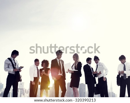 Business People Meeting Discussion Digital Device Technology Concept - stock photo