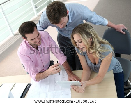 Business people meeting for construction project - stock photo