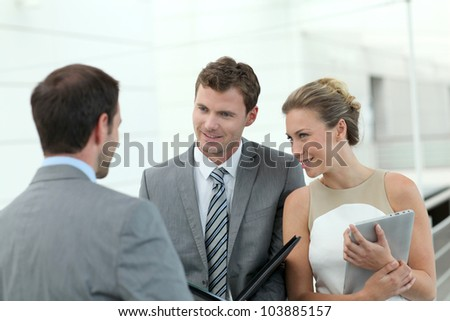 Business people meeting for contract agreement - stock photo