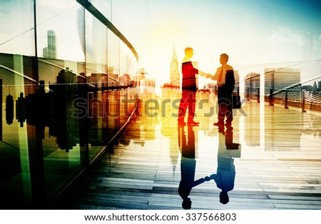 Business People Meeting Greeting Handshake Cityscape Concept - stock photo