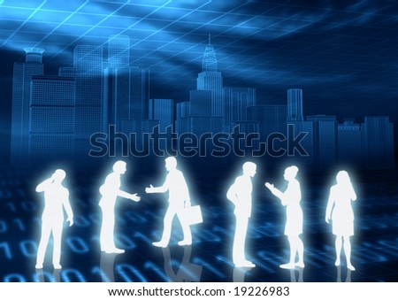 Business people meeting in virtual world of internet - stock photo