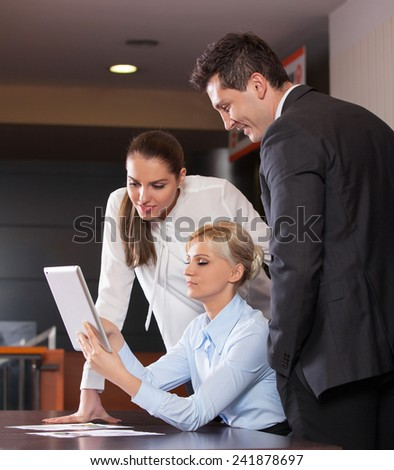 Business people meeting to discuss the situation on the market, office - stock photo
