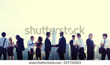 Business People New York Handshake Concept - stock photo
