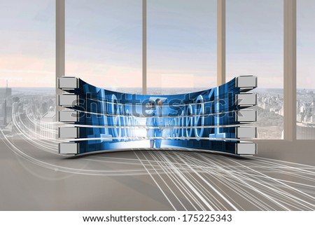 Business people on abstract screen against abstract white line design in room - stock photo