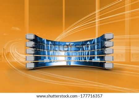 Business people on abstract screen against orange abstract wave design - stock photo