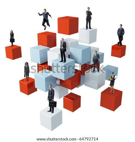business people on 3d abstract cube background - stock photo