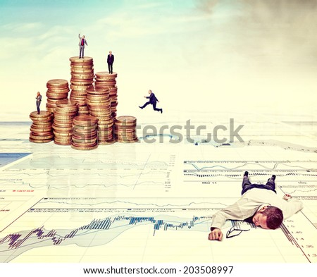 business people on 3d abstract finace background with euro coins - stock photo