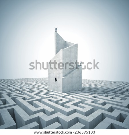 business people on 3d abstract tower with maze - stock photo