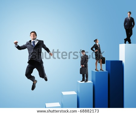 business people on 3d chart background - stock photo