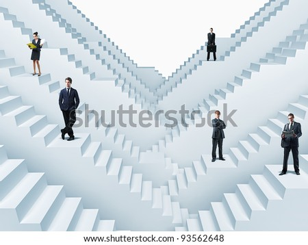 business people on 3d stair - stock photo