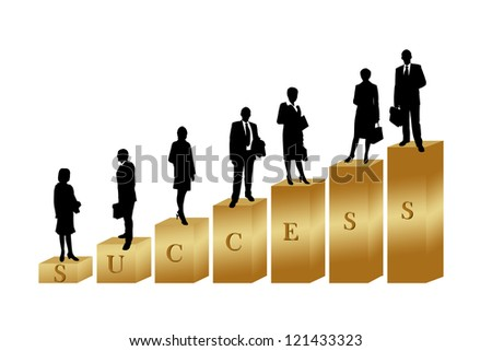 business people on golden stairs to the success - stock photo