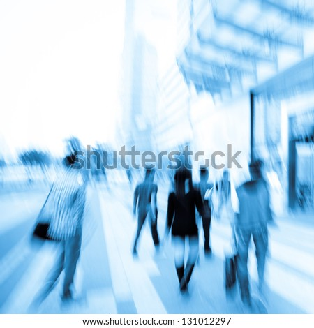 business people on urban city street blur - stock photo