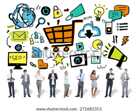 Business People Online Marketing Digital Communication Concept - stock photo