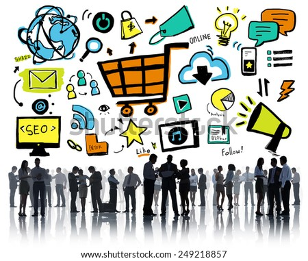 Business People Online Marketing E-commerce Discussion Concept - stock photo