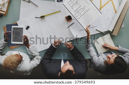 Business People Planning Blueprint Architecture Concept - stock photo