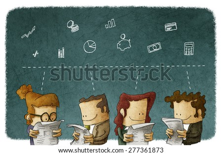business people reading a financial newspaper - stock photo