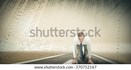 Business people ready to start race against stocks and shares - stock photo
