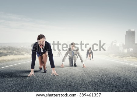Business people running race - stock photo