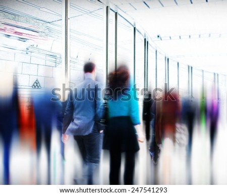 Business People Rush Hour Walking Commuting City Concept - stock photo