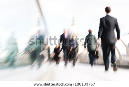 Business People Rushing to Work in London - stock photo