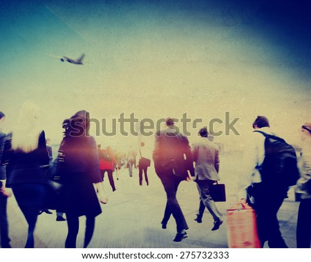 Business People Rushing Walking Airport Travel Concept - stock photo