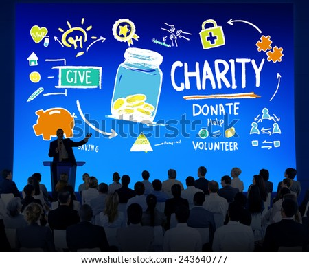 Business People Seminar Give Help Donate Charity Concept - stock photo