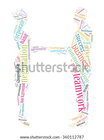 Business people shaking word cloud concept on white background.