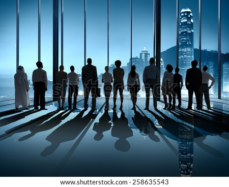 Business People Silhouette The Way Forward Vision Concept - stock photo