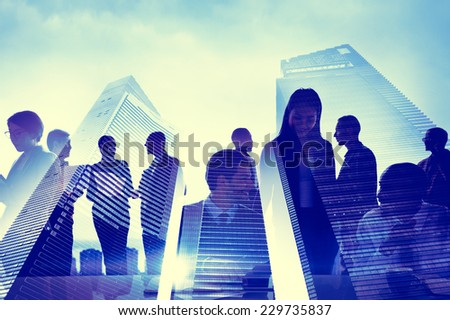 Business People Silhouette Transparent Building Concept - stock photo