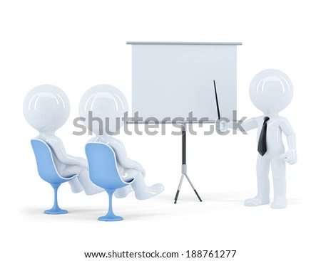 Business people sitting on presentation. Isolated. Contains clipping path - stock photo