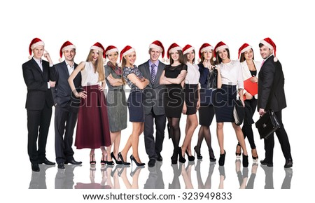 Business people smile and stand in a christmas hat over white backgroud - stock photo