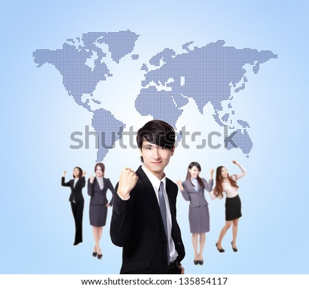 Business people stand confidently with global map, they make a fist, asian group - stock photo