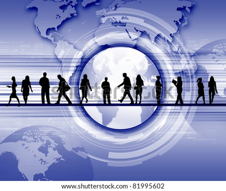 business people standing against world map background - stock photo